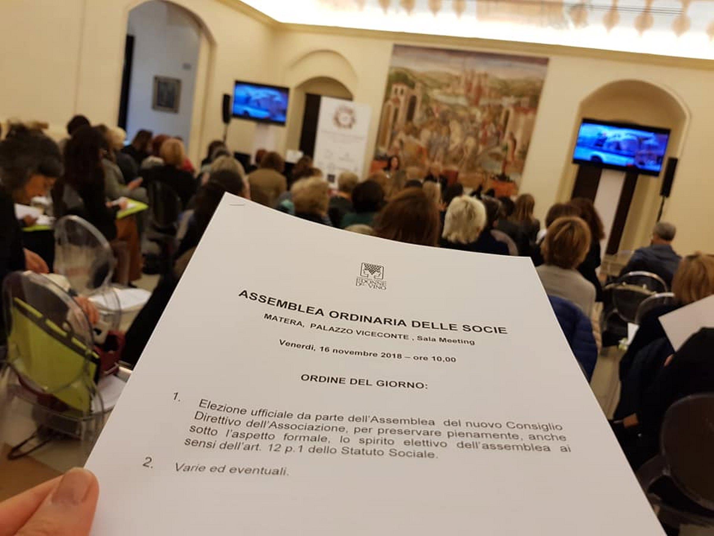 """Matera """"Le Donne del Vino nel Mondo"""" Assemblea  Palazzo Vice-Conte, 16 novembre 2018"""